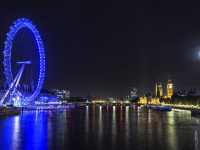 London Eye on a full moon night