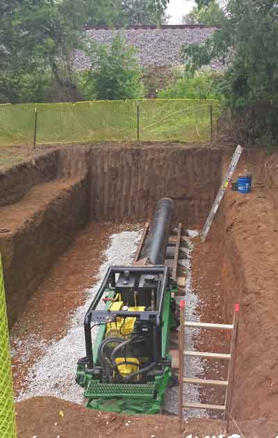 Installation was done using open trench, cut and cover. Jack and bore was also used to install under several state roads and railroad tracks.