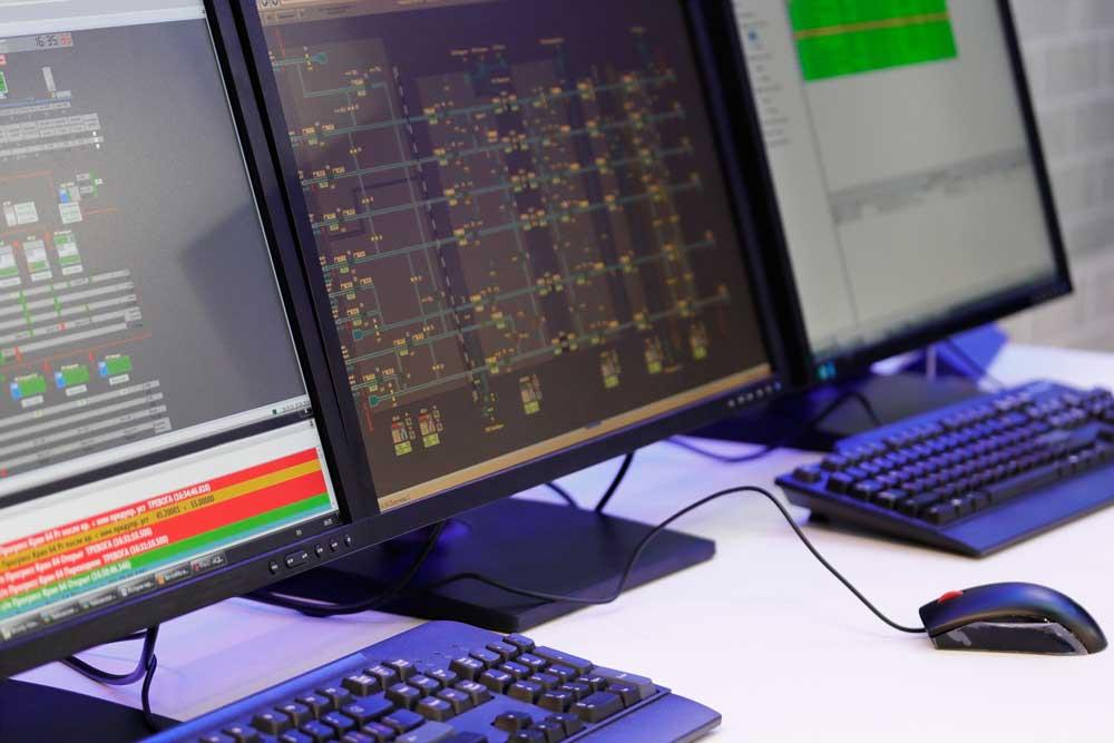 computer monitors and keyboards