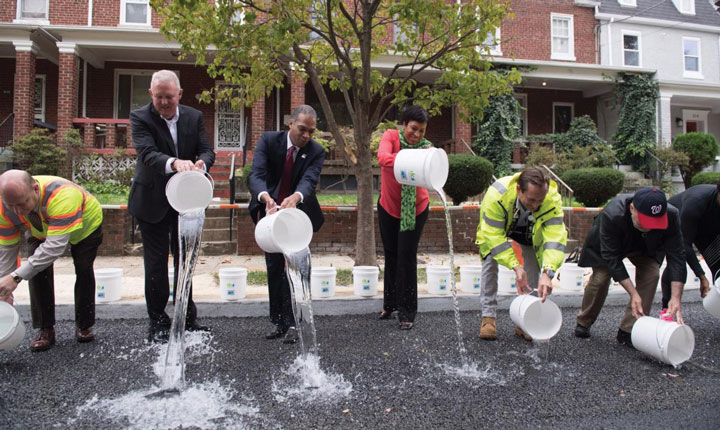 groundbreaking ceremony for the green infrastructure projects