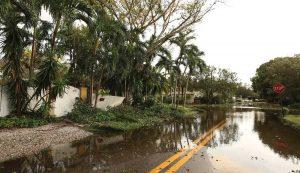 Flooded roads in a residential neighborhood in Ft. Lauderdale