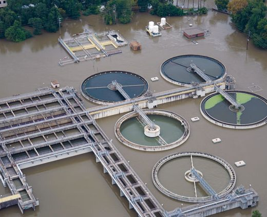 A flooded treatment plant in the aftermath of Hurricane Harvey in 2017.