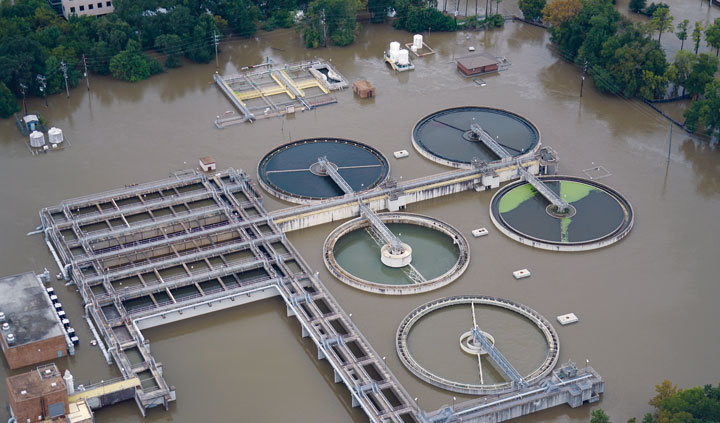 flooded treatment plant