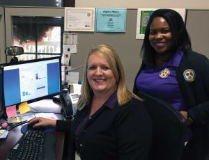 Utility Supervisor Janet McCrory (left) and Utilities Clerk Crystal Aikens track water usage from the office in Gonzales