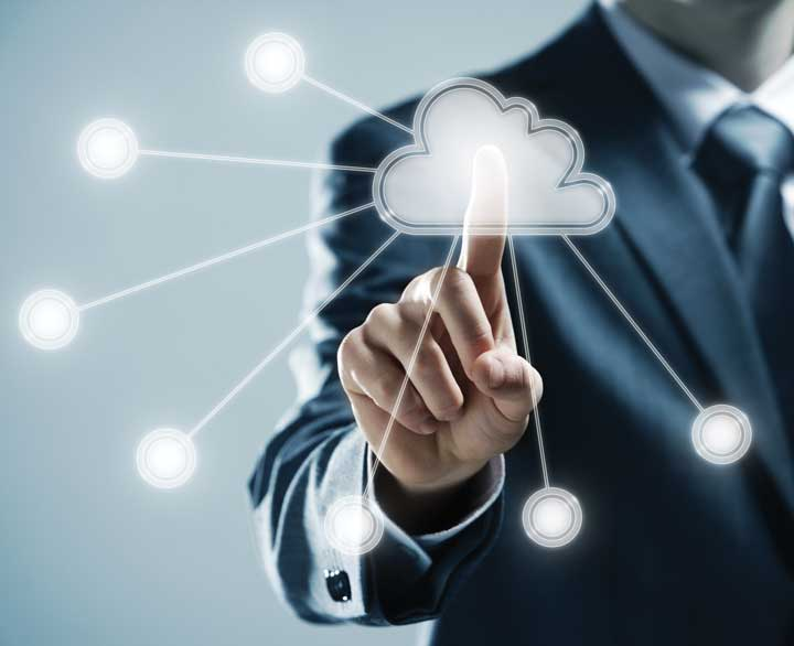 Man with cloud graphic