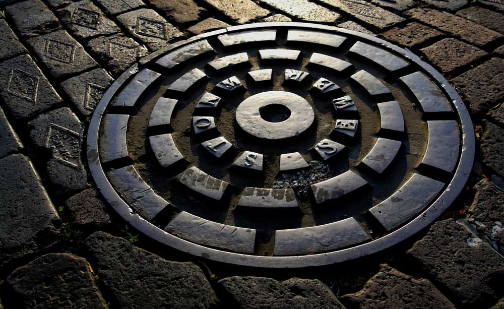 Manhole cover on brick road