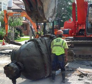30-in. valve is removed from the ground