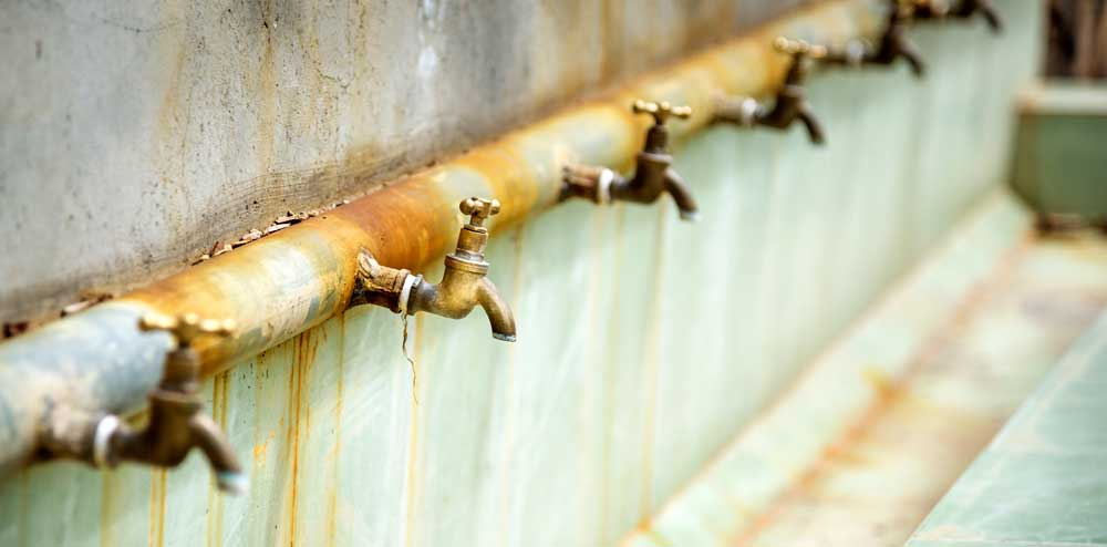 rusty water taps